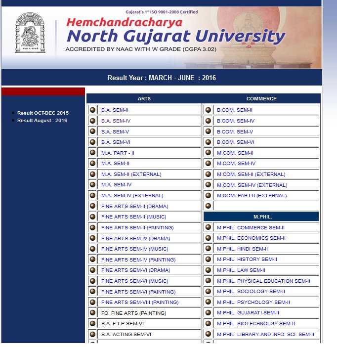 Hemchandracharya North Gujarat University SYBA Result - 2018-2019