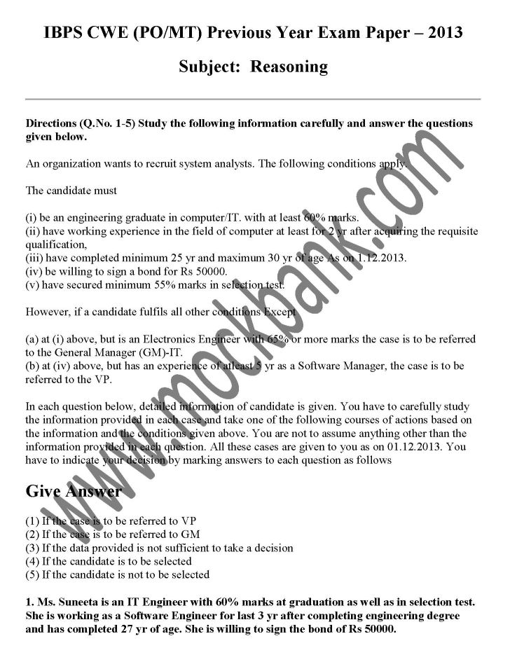 IBPS PO Question Paper PDF Download - 2018-2019 StudyChaCha