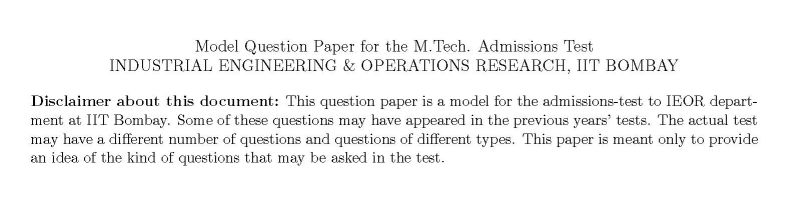 question paper operation research