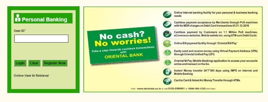 oriental bank login