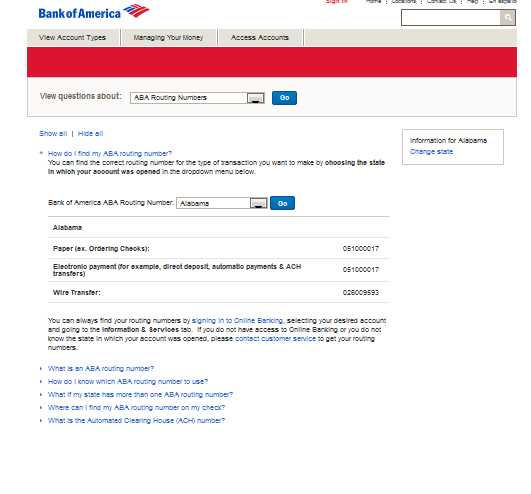 Wiring Routing Number Bank Of America : Bank of america eft routing number studychacha