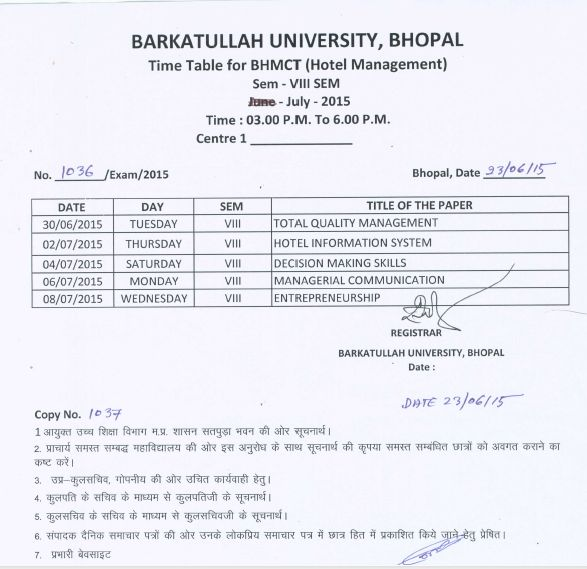 Bundelkhand university bhopal time table 2018 2019 for Bu time table 5th sem