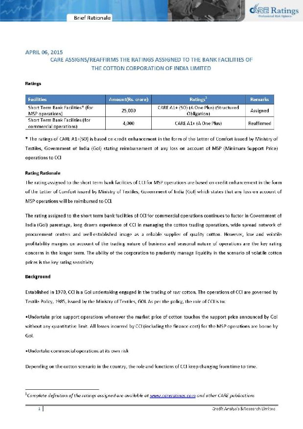 Cotton Corporation Of India External Rating 2018 2019
