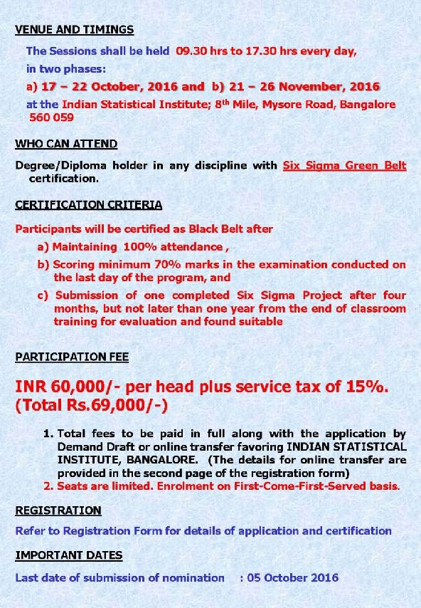 Indian statistical institute bangalore black belt 2018 2019 sigma black belt certification program address indian statistical institute 8th mile mysore road rvce post bengaluru karnataka 560059 1betcityfo Images