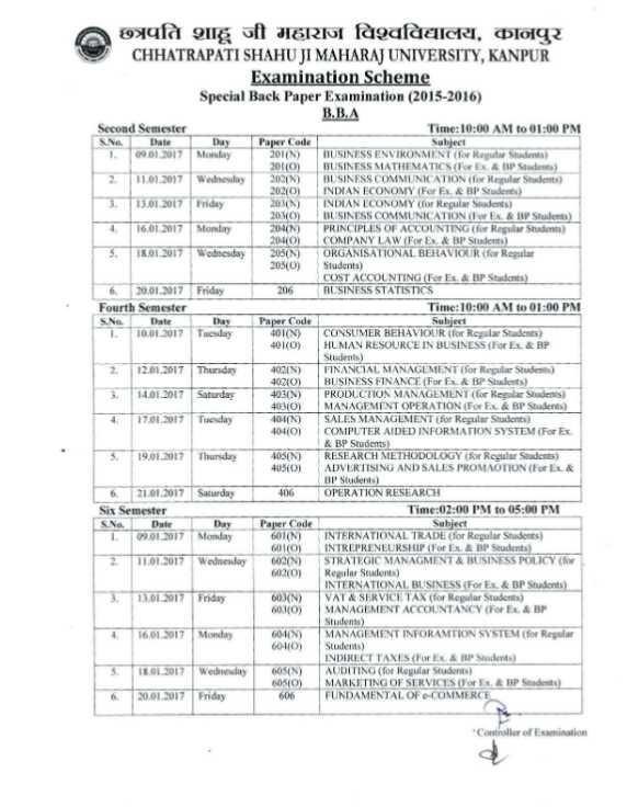 Csjm Kanpur University Back Paper Exam Date
