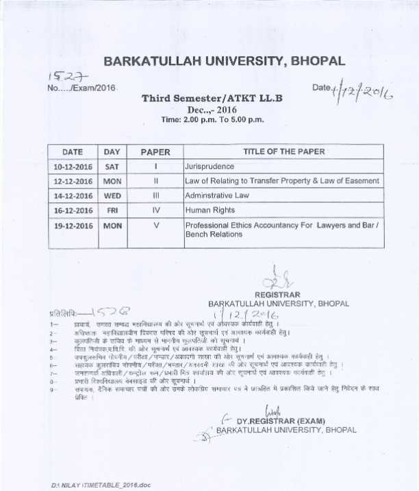 Llb timetable bu bhopal 2018 2019 studychacha for Bu time table 5th sem