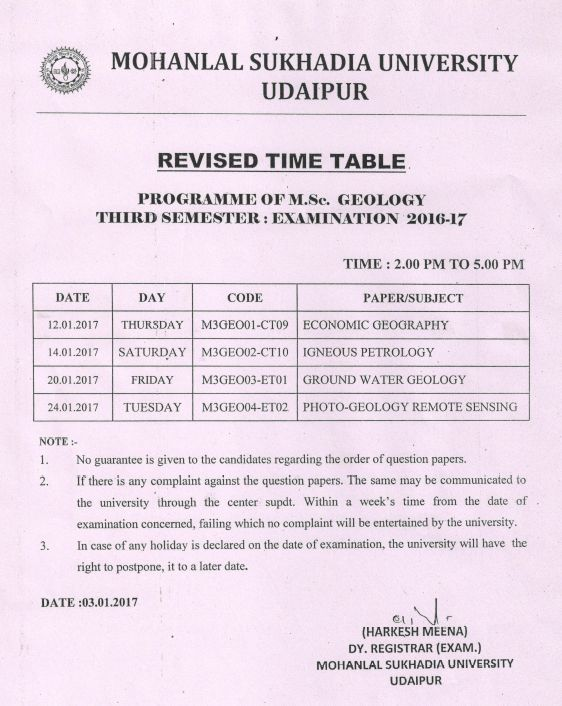 Mlsu ac in time table 2018 2019 studychacha for Rtu 4th sem time table