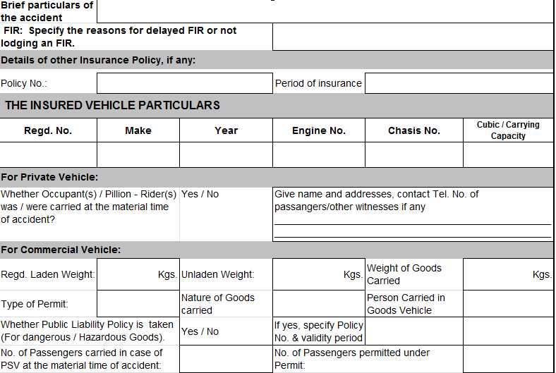 New India Insurance Company Motor Claim Form