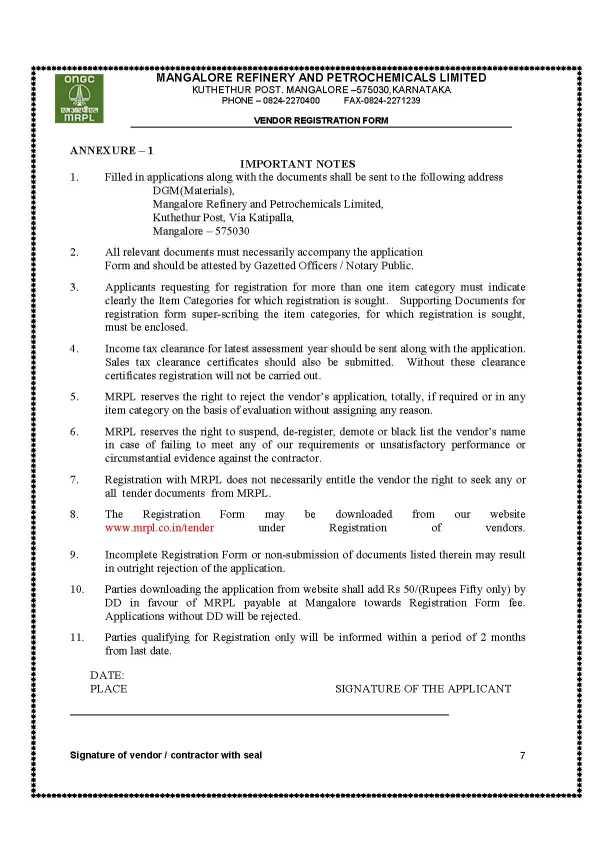Oil And Natural Gas Corporation Vendor Registration