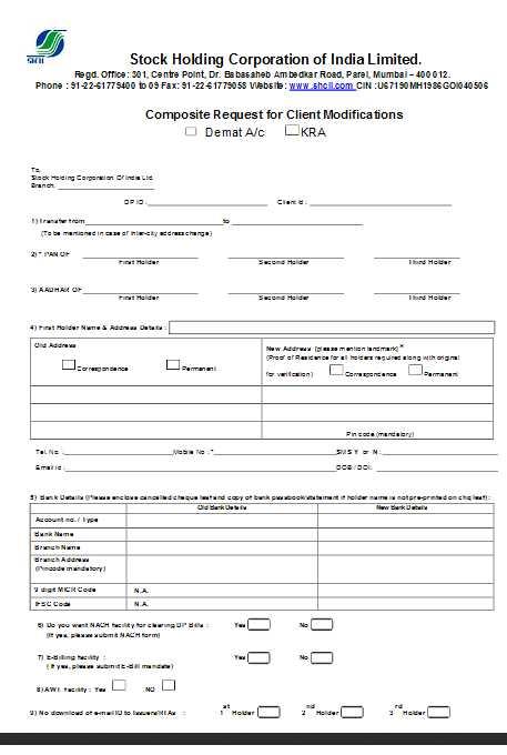 Corporation Bank Account Address Change Form Corporation Bank