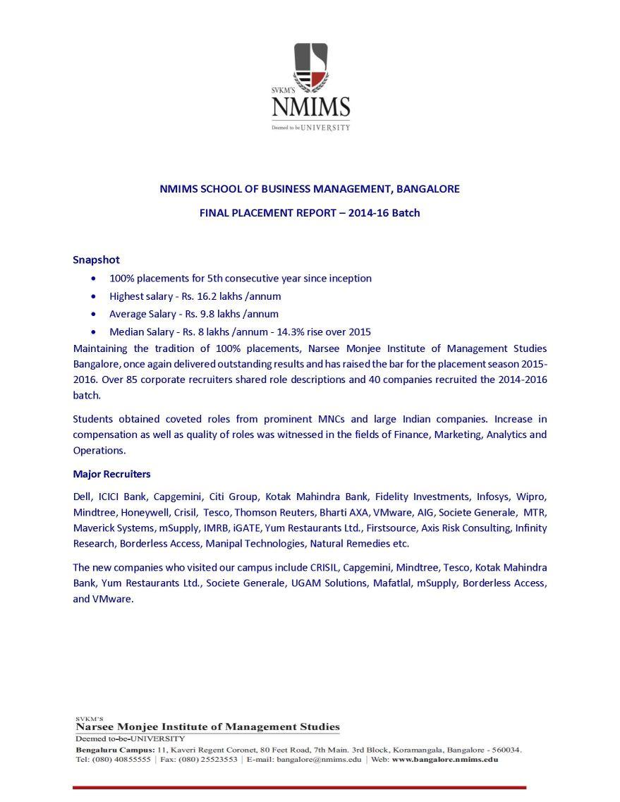 Svkm S Nmims University Bangalore 2018 2019 Studychacha