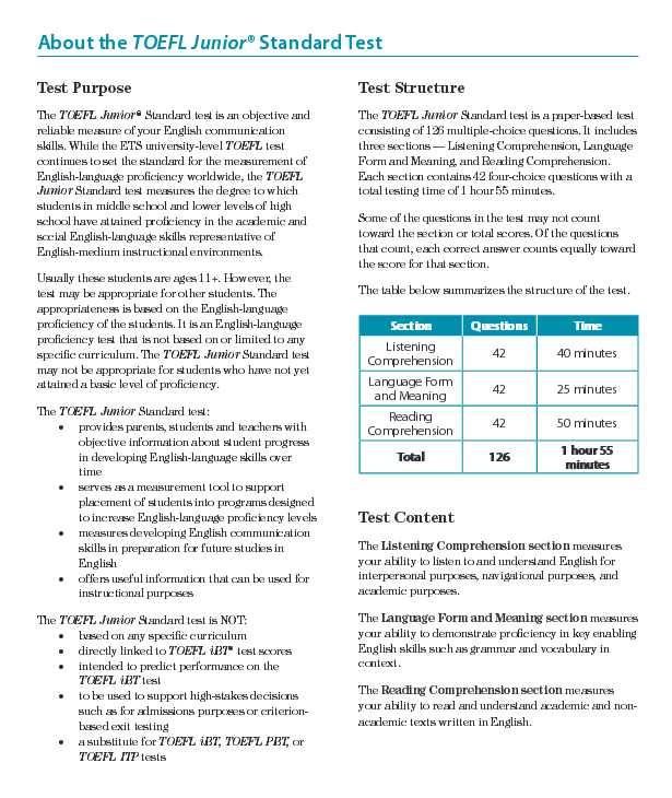 Toefl Junior Practice Test Pdf