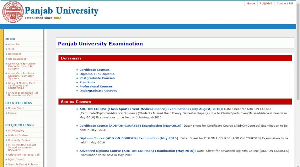online roll number slip punjab university chandigarh