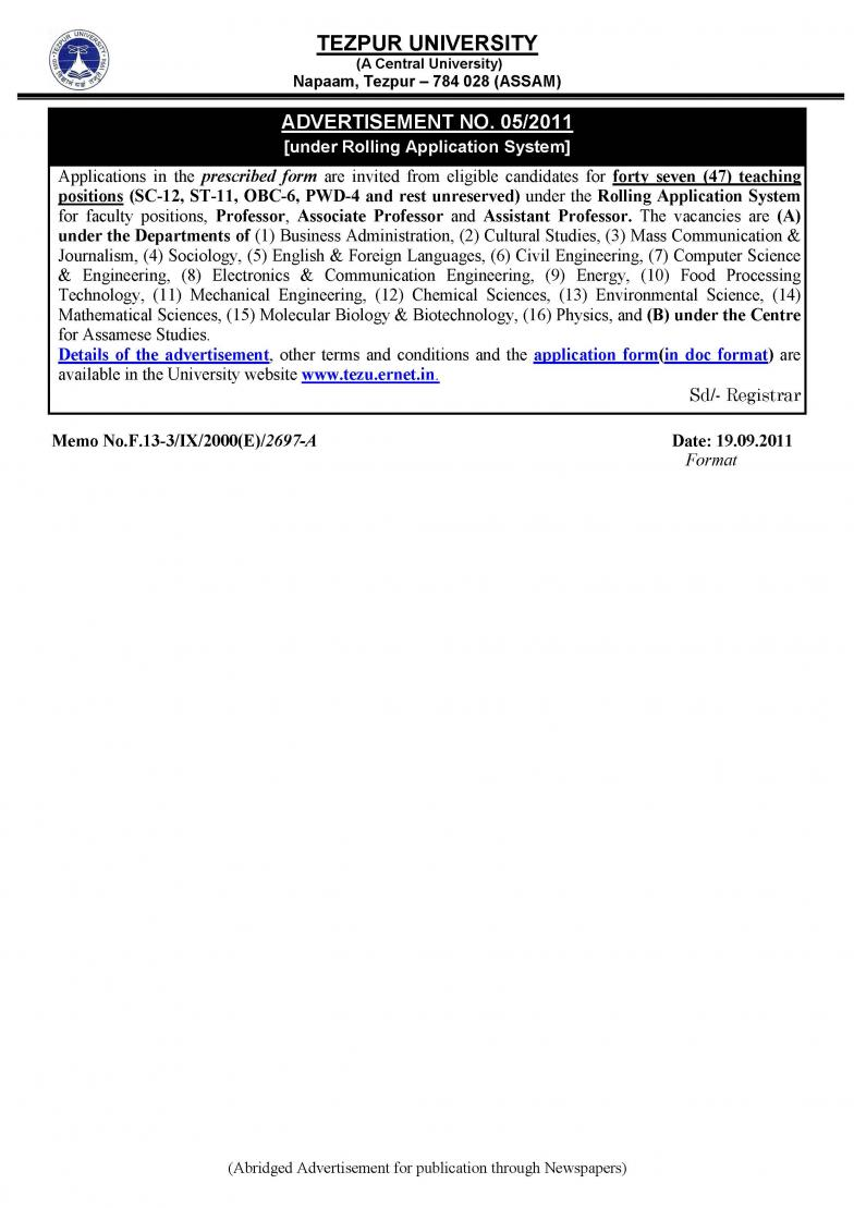 Click image for larger version  Name:TEZPUR University Faculty Recruitment.jpg Views:106 Size:89.8 KB ID:193