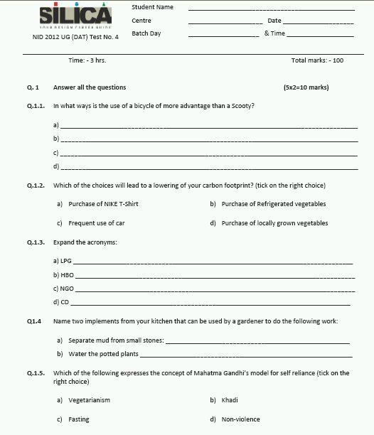 Nid Sample Papers Pdf