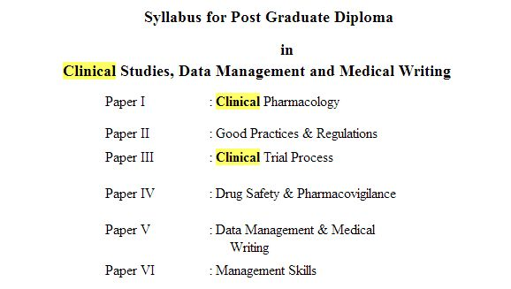 Clinical Research Courses Mumbai University - 2018-2019