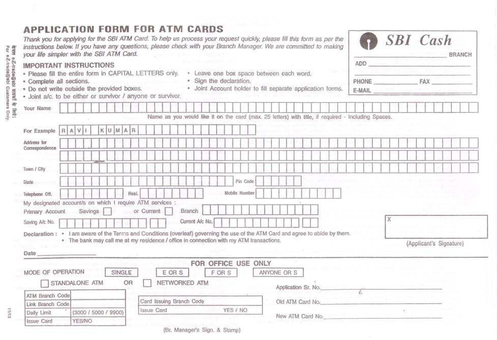 SBI-Debit-Card-Application-Form-1 Application Form For Bank Of India Debit Card on