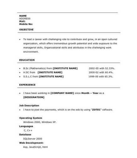 bsc resume format