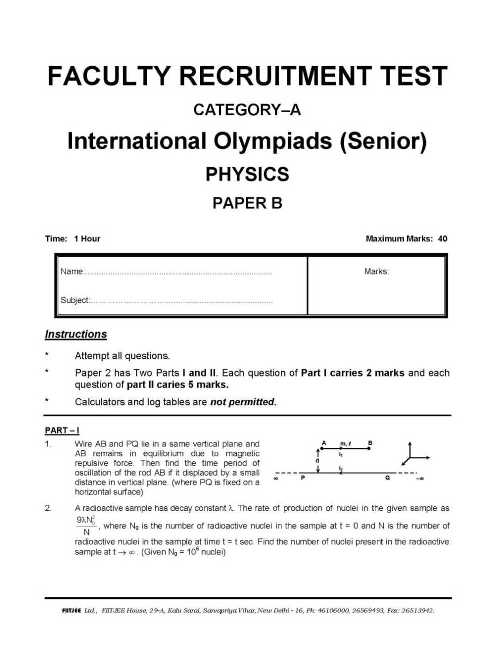 Iit Sample Papers With Solutions Pdf