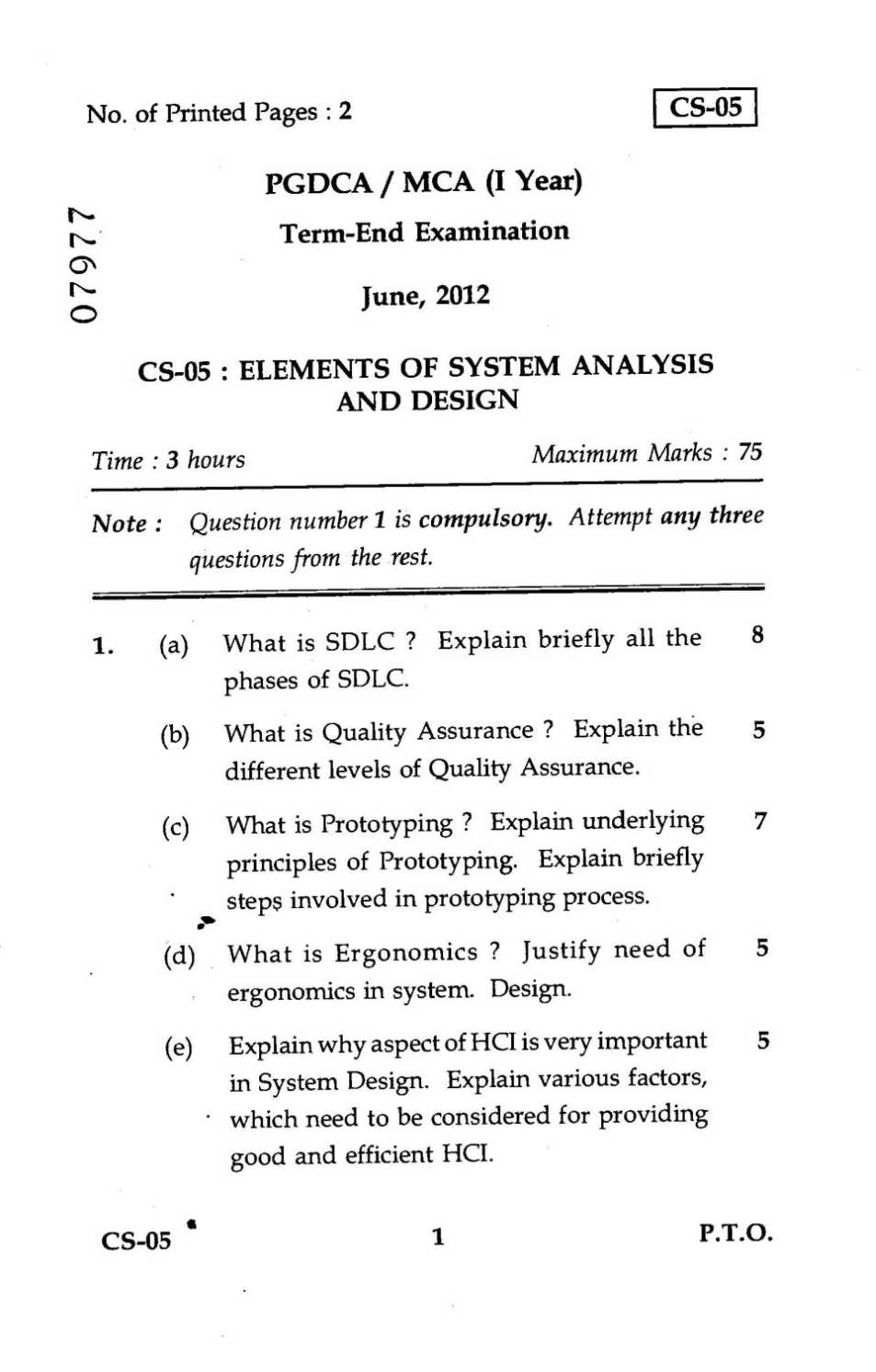 Last Five Years Ignou Mca Question Paper 2020 2021 Studychacha