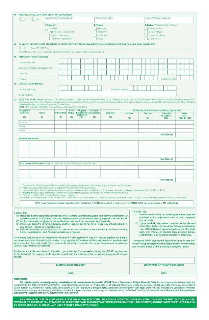 UPCAT-form-1-2-2 Sample Application Forms Online on german schengen visa, high school, for matron job, personal loan, u.s. visa, us passport renewal, uk visa, bridge 2rwanda, auto loan,