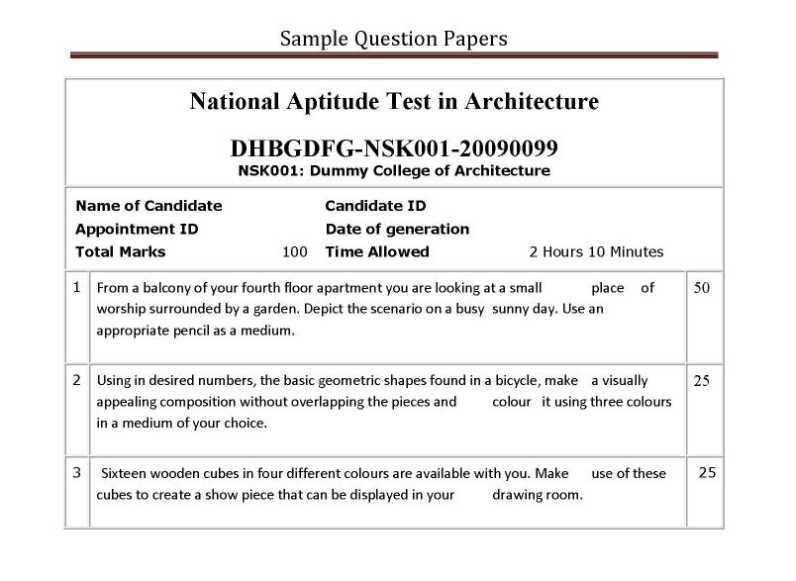 Nata sample papers | nata architecture coaching classes jaipur.