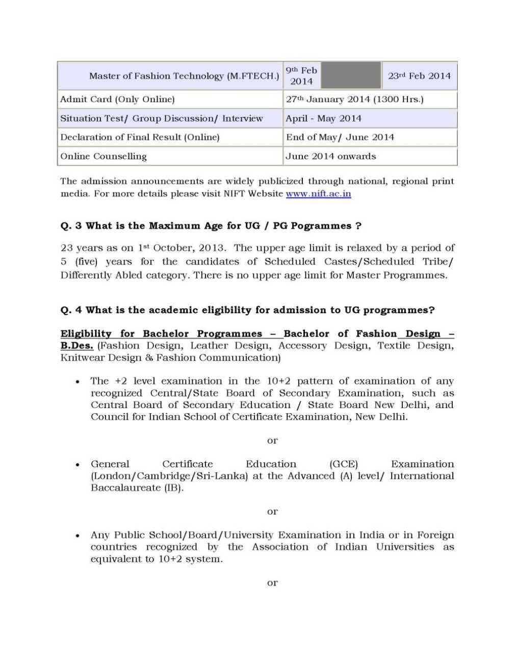 Nift Admission Test 2020 2021 Studychacha