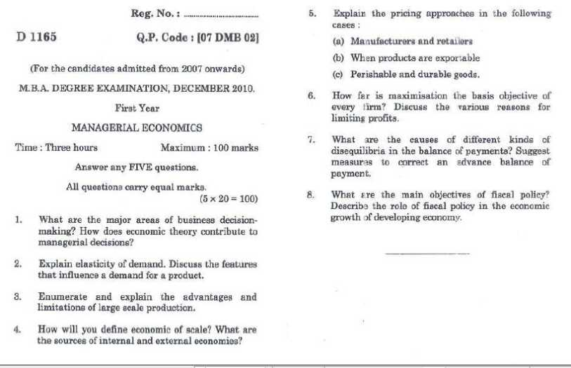 managerial economics questions and answers for mba