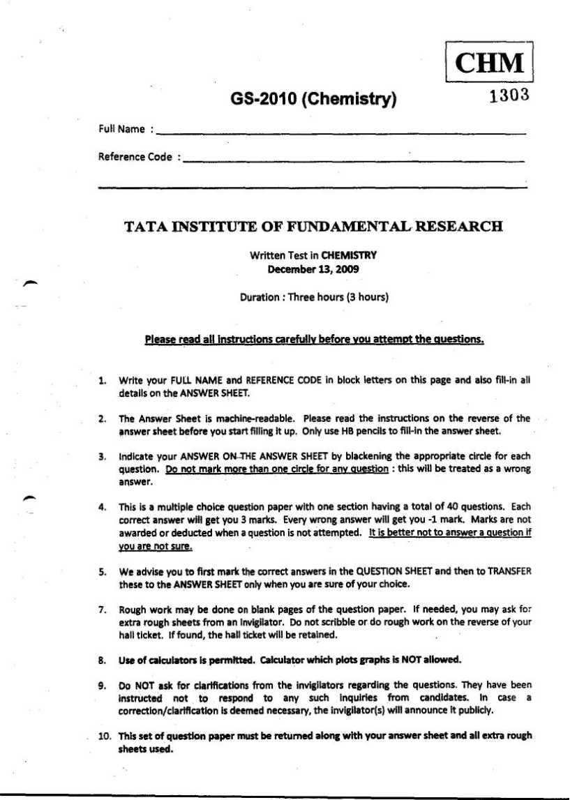 Chemistry question papers of previous years of entrance exam of TIFR