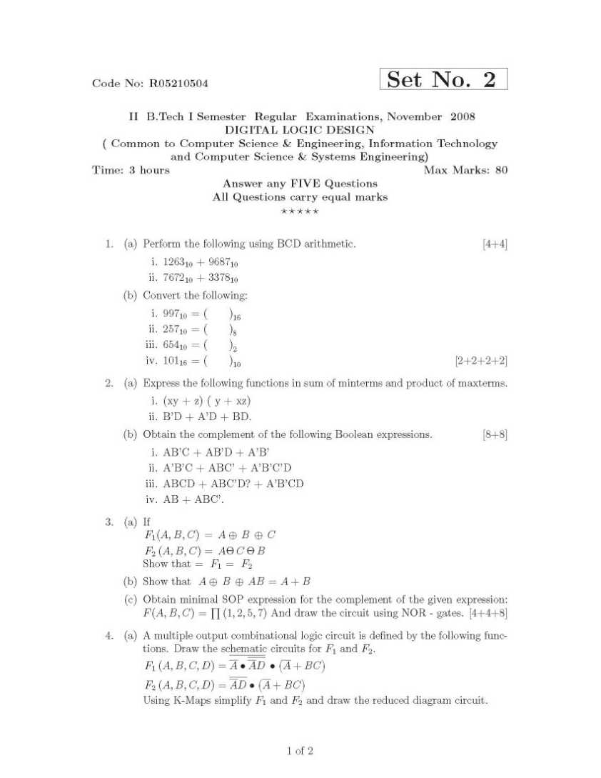 Jntu Btech In Computer Science And Engineering Digital Logic Circuit Design Previous Years Question Papers