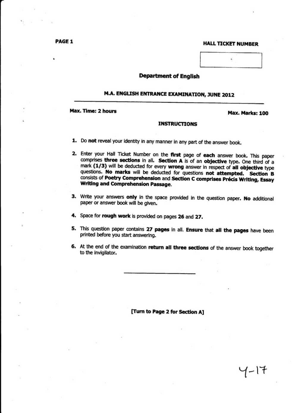 Previous year question papers of MA English entrance exam of