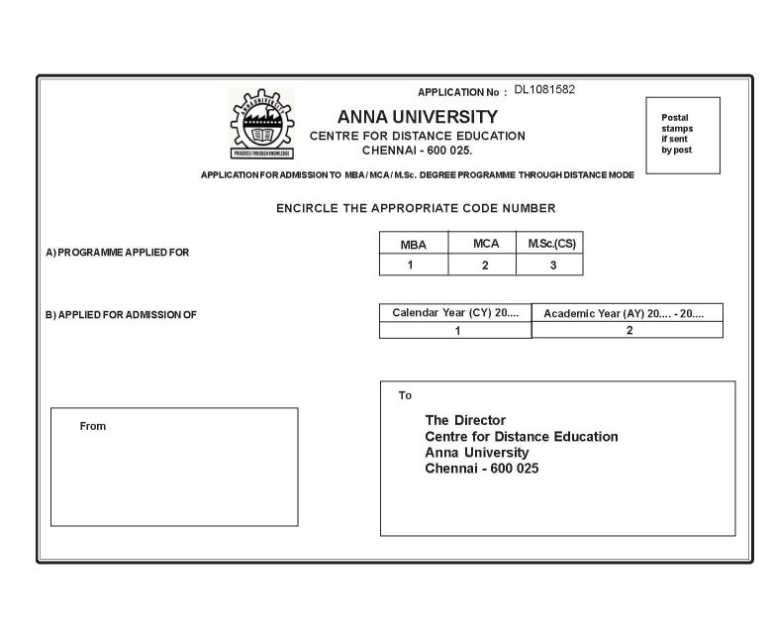 Dates to apply to distance education MBA in Anna
