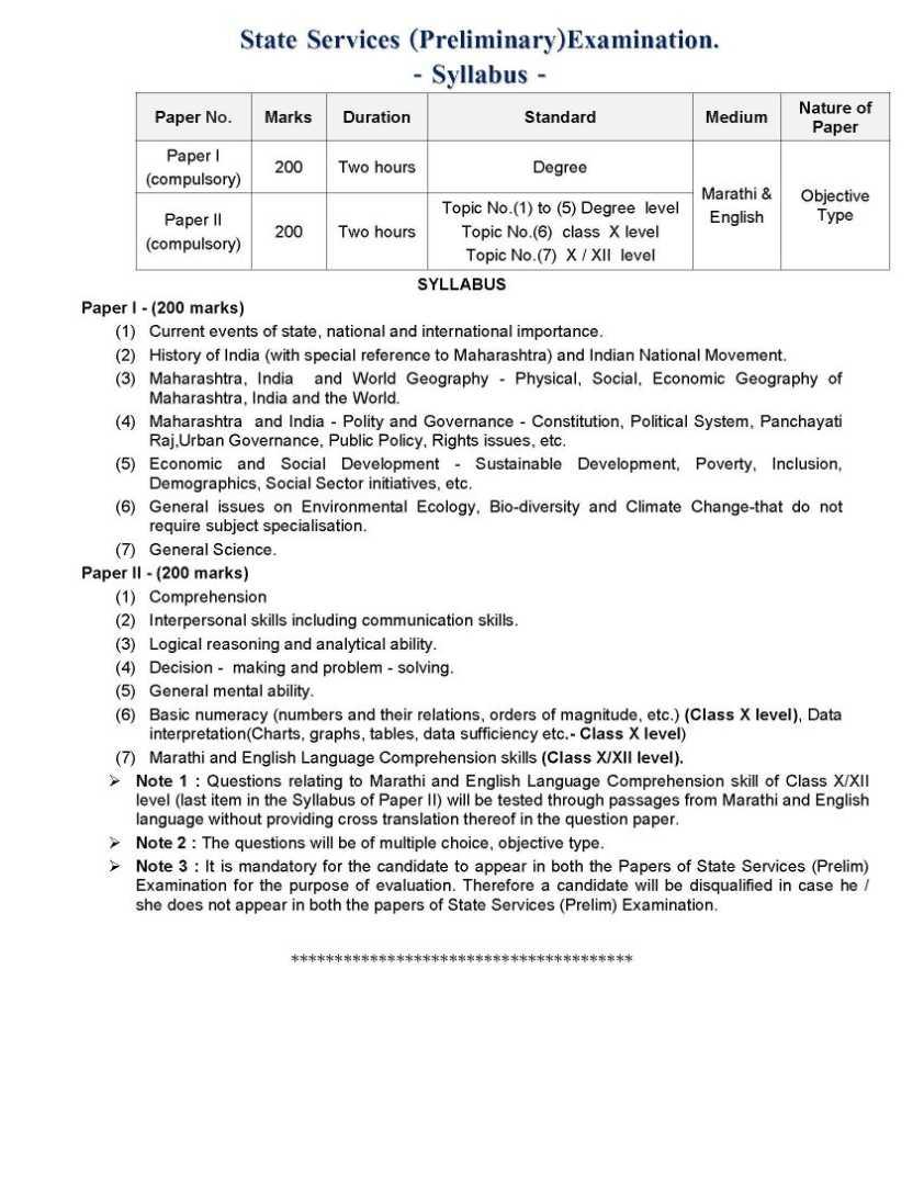 maharashtra public service commission preliminary exam civil engineering syllabus
