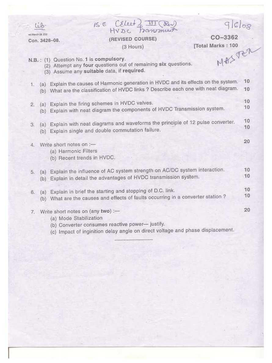 Mumbai University-BE in Electrical Engineering-7th Sem HVDC