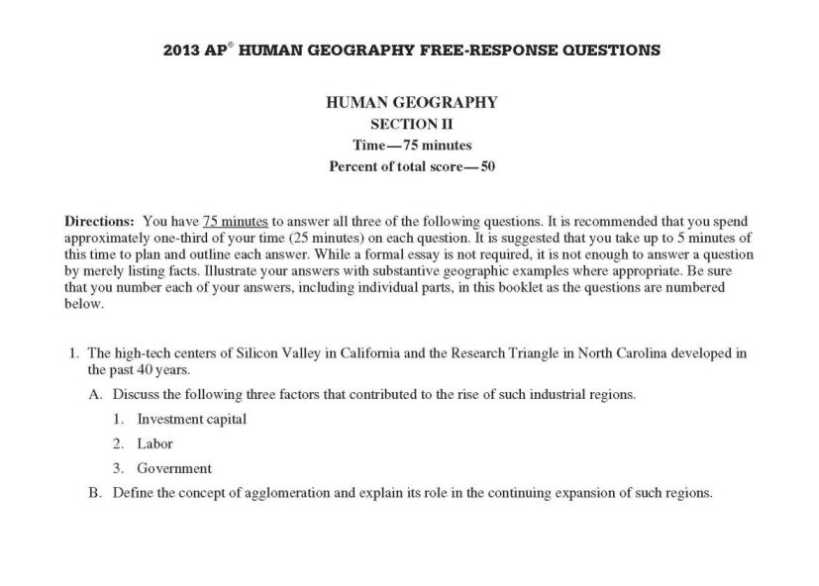 Ap human geography essay questions
