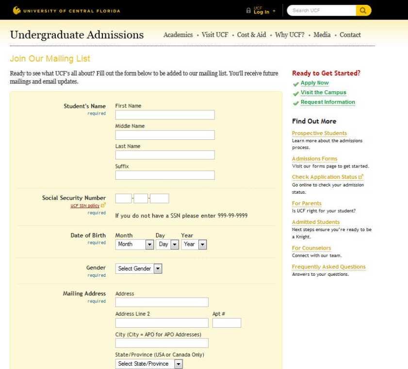 ucf undergraduate admissions contact