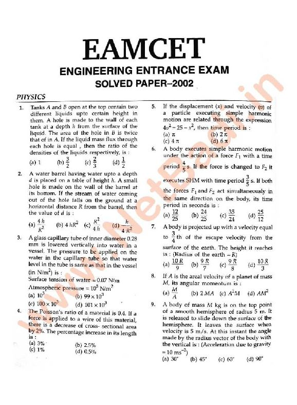 Eamcet Medical Previous Papers With Solutions Pdf