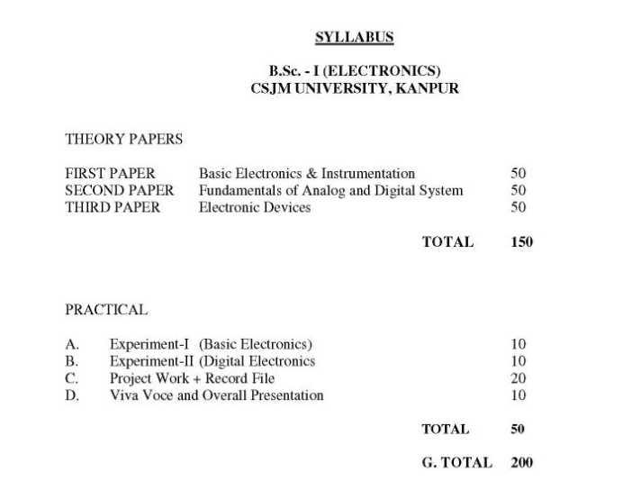 Kanpur University Bsc Syllabus - 2018-2019 StudyChaCha