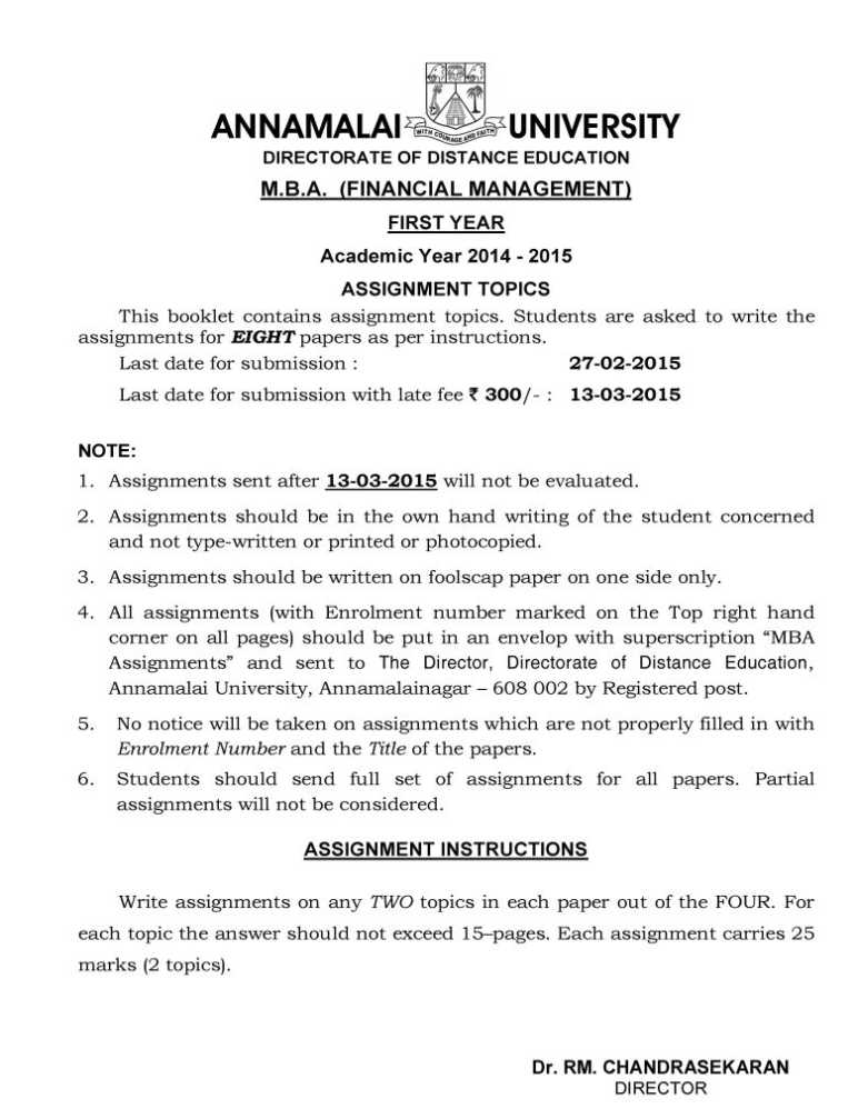 Answers for MBA FM Assignment - 2018-2019 StudyChaCha