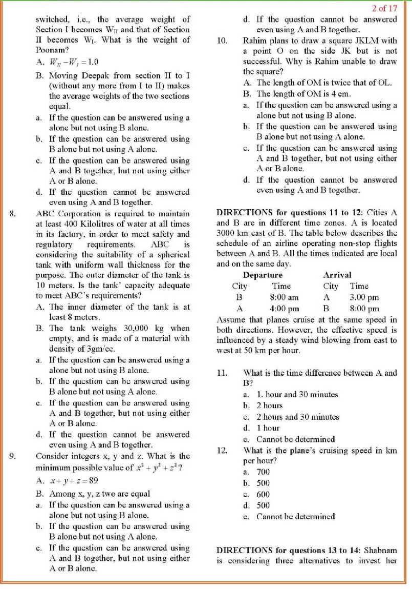 Cat exam previous year question papers pdf