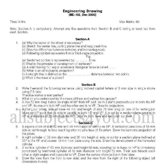 Ptu Diploma Course I Year Engineering Drawing I Exam Question Papers