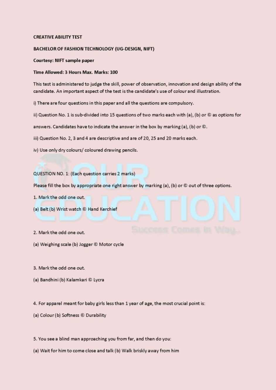 Nift Creative Ability Entrance Test Past Year Question Paper 2020 2021 Studychacha