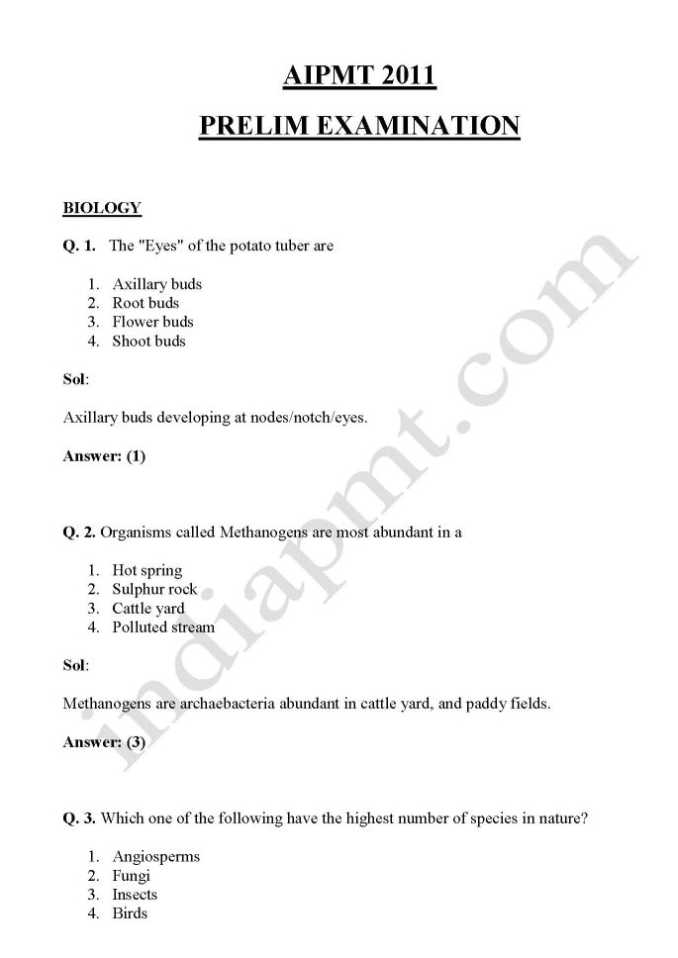 Aipmt Question Papers With Solutions Pdf