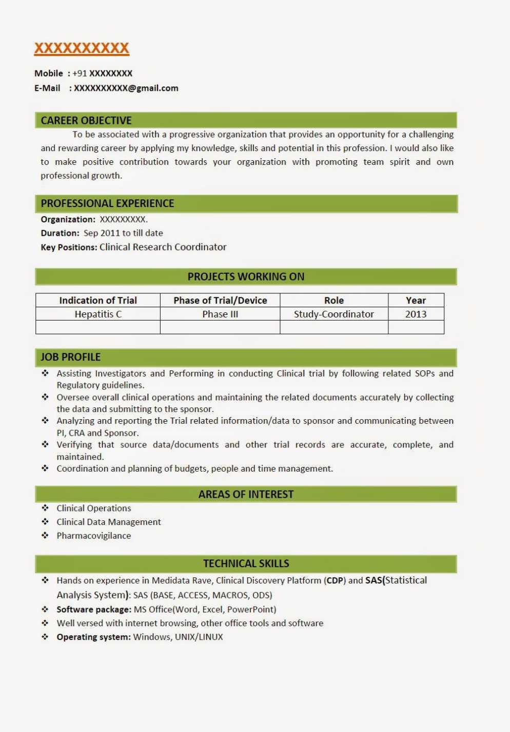 b pharmacy fresher resume models
