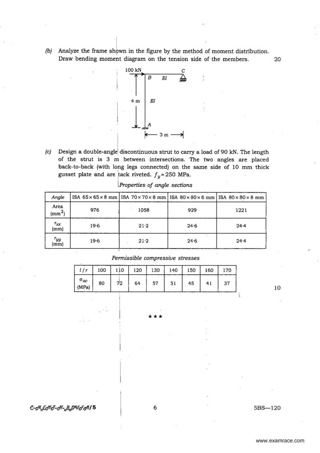 Download Ifs Civil Engineering Paper I Exam 2018 2019 Frame Bending Moment Diagram Upsc Question 2013 On A Soft Glacial Clay Layer 2 M Thick With 45 Liquid Limit The Pressure Intensity Was