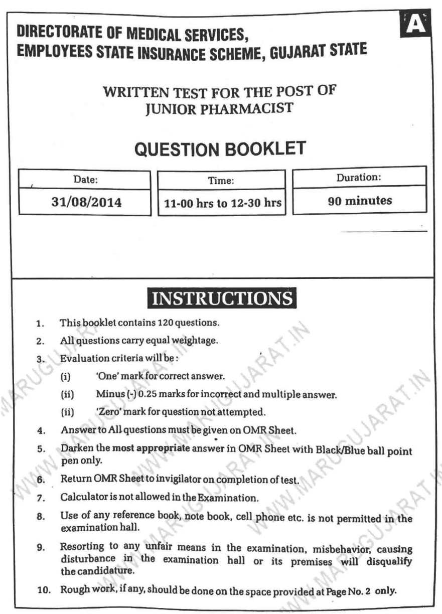 ESIC Pharmacist Exam question papers - 2018-2019 StudyChaCha