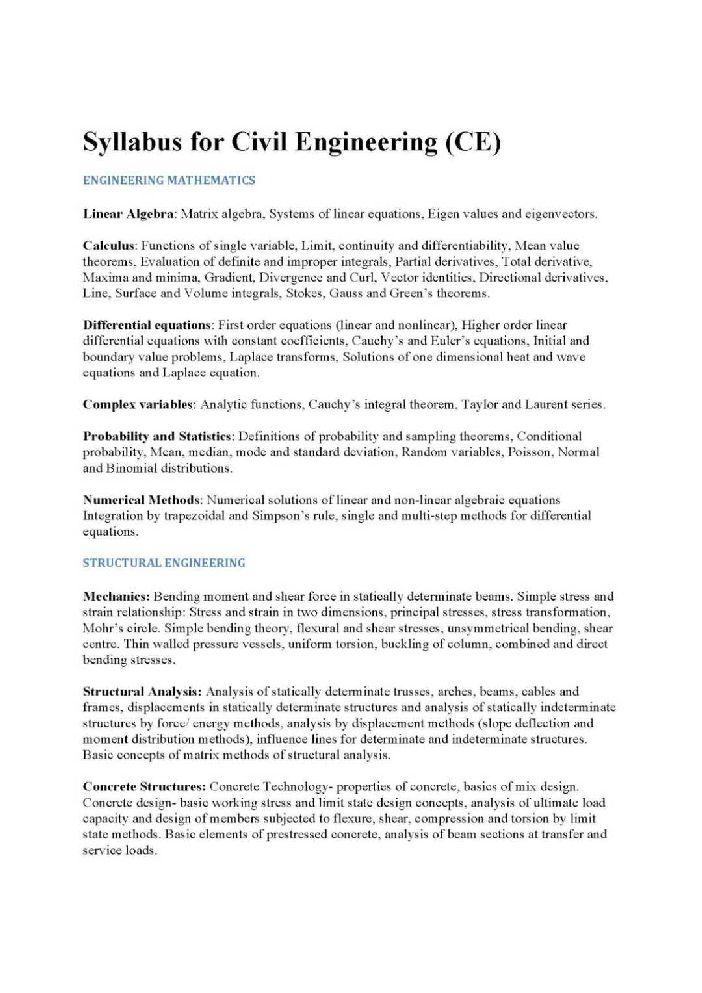 Gate exam syllabus for civil engineering 2015 pdf free