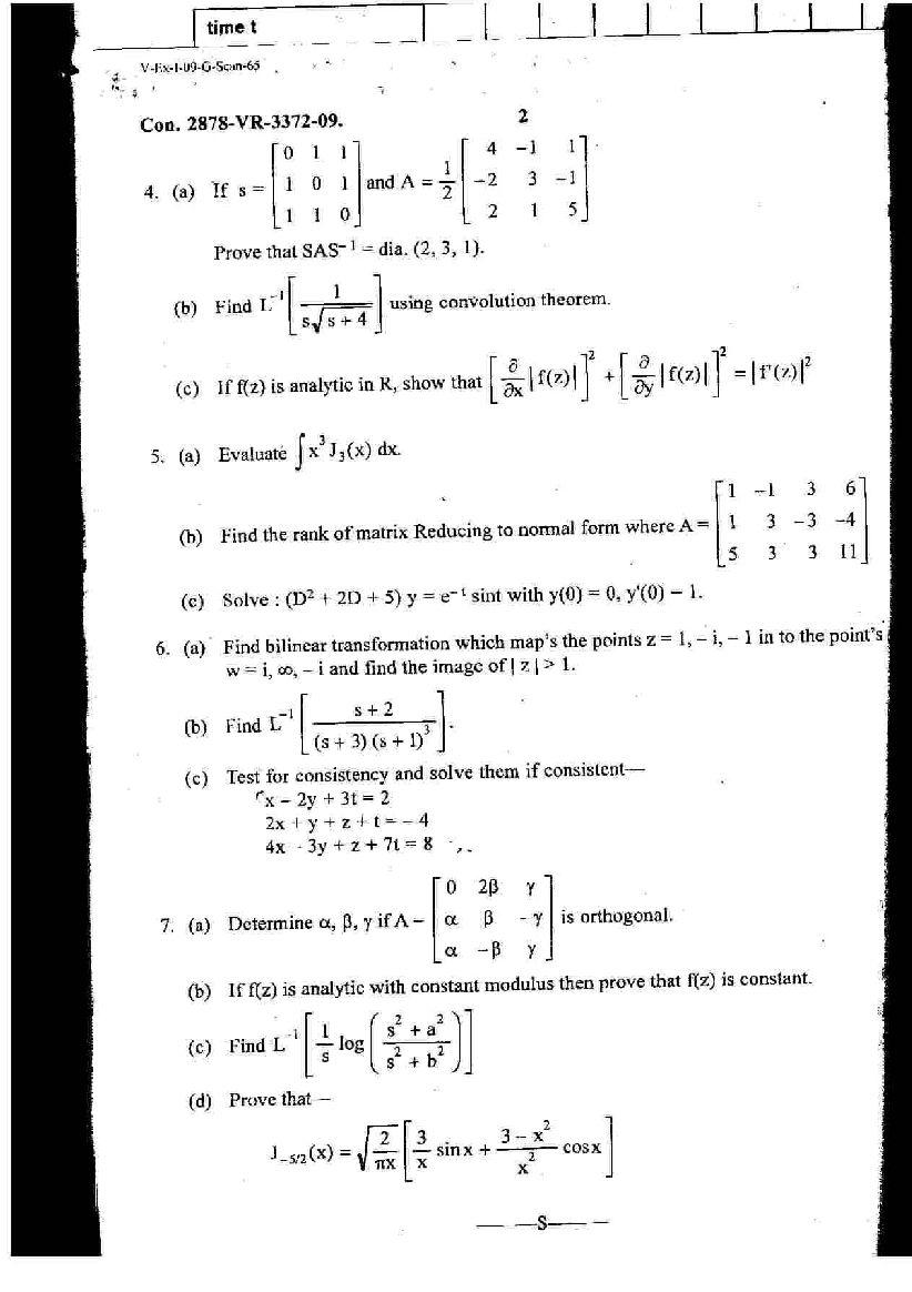 MU, B E in Chemical Engineering, 3rd Sem , Applied Mathematics