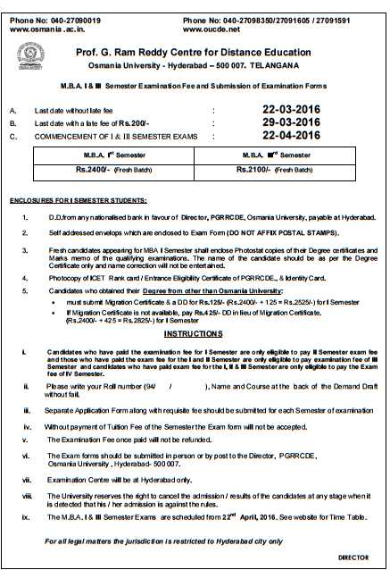 Oucde Mba Exam Time Table 2021 2022 Studychacha