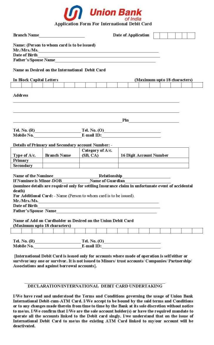 Bank Of India Credit Card Application Form Pdf